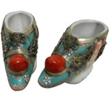 Pair of Chinese Porcelain Decor Shoes