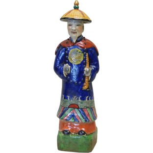 Porcelain Chinese Qing Dynasty Emperor Kangxi Statue