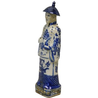 Blue and White Qing Emperor Kangxi Statue
