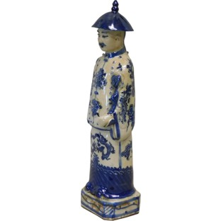 Blue and White Chinese Qing Emperor Yongzheng Statue