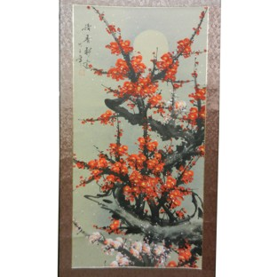 Chinese Scroll - Red Cherry Blossom