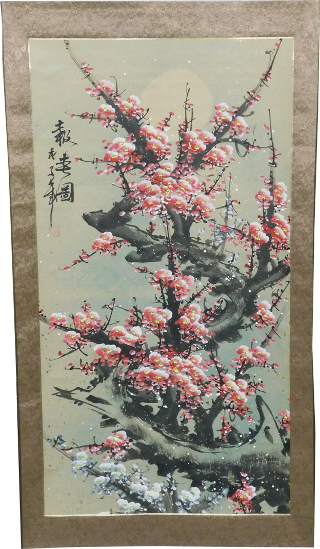 Chinese Painting Scroll Cherry Blossom