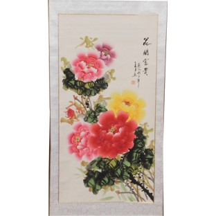 Chinese Painting Scroll - Peony Prosperity