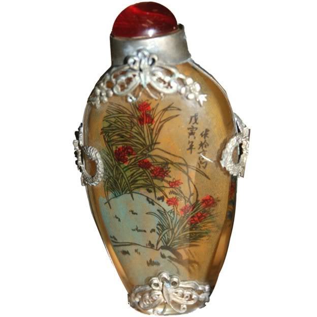 Beautiful Framed Glass Snuff Bottle with Double Side Painting