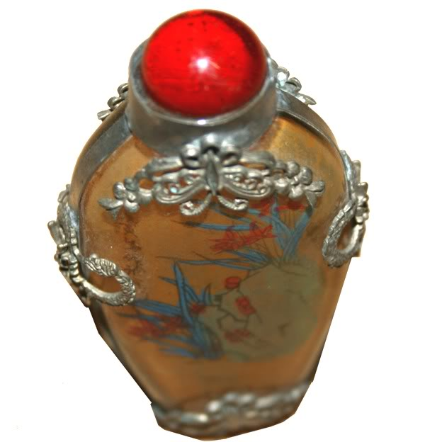 Beautiful Framed Glass Snuff Bottle with Double Side Painting -Top View