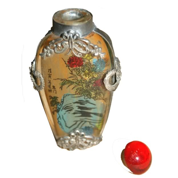 Beautiful Framed Glass Snuff Bottle with Double Side Painting - Open View