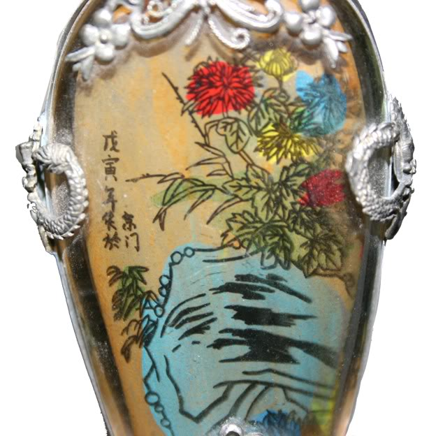 Beautiful Framed Glass Snuff Bottle with Double Side Painting -Detail 1