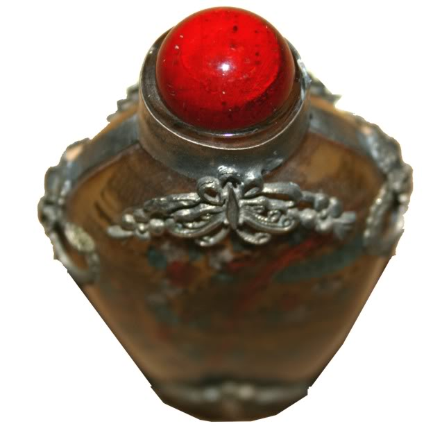 Beautiful Framed Glass Snuff Bottle with Double Side Painting - Top View