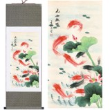 Chinese Koi Fish on Large Silk Scroll