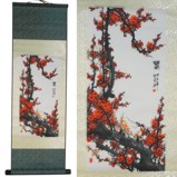 Plum Blossom Printing on Large Silk Scroll