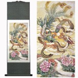Dragon and Phoenix on Small Silk Scroll