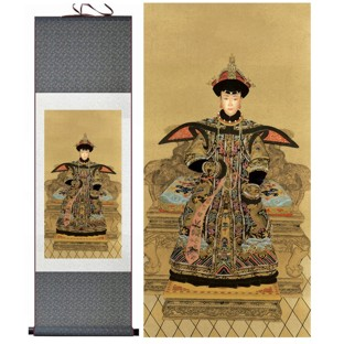 Chinese Empress Portrait on Large Silk Scroll