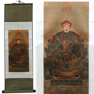 Chinese Emperor Portrait on Large Silk Scroll