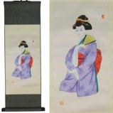 Japanese Geisha Lady Paintings Prints on Silk Scroll