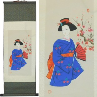 Japanese Lady Paintings Silk Scroll