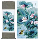Chinese Lotus Large Silk Scroll