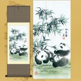 Chinese Panda on Large  Silk Scroll