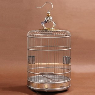 Gold 38 cm Stainless Steel Round Bird Cage