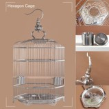 Hexagon 38 cm Stainless Steel Bird Cage