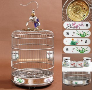 Deluxe 38 cm Stainless Steel Round Bird Cage