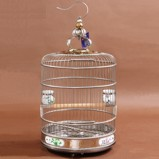 Deluxe 45 cm Stainless Steel Round Bird Cage