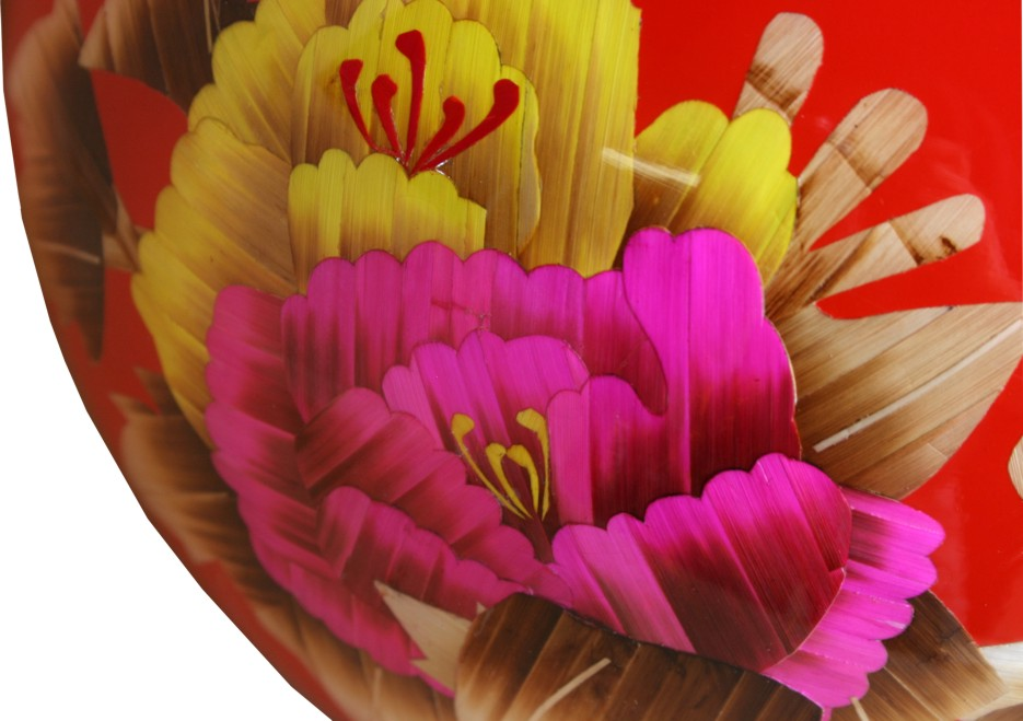 Red Contemporary Vase - Reed Plant Art Detail View