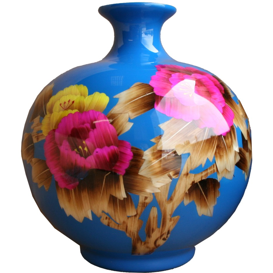 Blue Contemporary Vase - Reed Plant Art