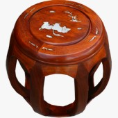 Mother of Pearl Inlay Drum Stool