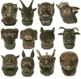 Set of 12 Chinese Zodiac Brass Animal Heads