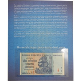 Zimbabwe 100 Trillion Dollars Banknote with History Cover