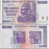 Zimbabwe 100 Thousand Dollars Banknote
