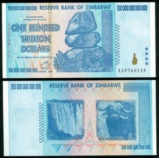 Zimbabwe 100 Trillion Dollars 2008 Banknote UNC AA+