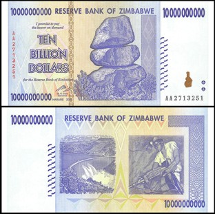 Zimbabwe 10 Billion Dollars 2008 Banknote UNC AA+