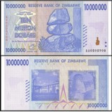 Zimbabwe 10 Million Dollars Banknote