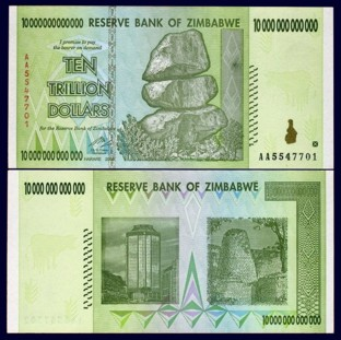 Zimbabwe 10 Trillion Dollars 2008 Banknote UNC AA+