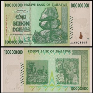 Zimbabwe 1 Billion Dollars 2008 Banknote UNC AA+