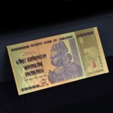 Zimbabwe 100 Trillion Gold Plated Banknote with Coloured
