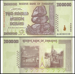 Zimbabwe 200 Million Dollars Bank Notes UNC New
