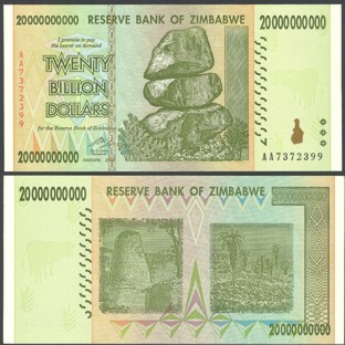 Zimbabwe 20 Billion Dollars 2008 Banknote UNC AA+