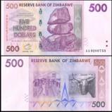 Zimbabwe 500 Dollars Banknote UNC