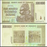 Zimbabwe 500 Thousand Dollars Banknote