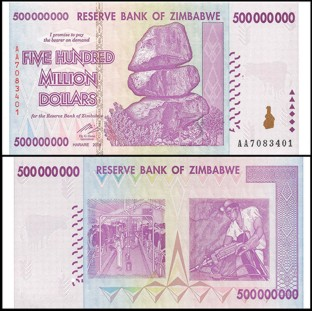 Zimbabwe 500 Million Dollars 2008 Banknote UNC AA/AB+