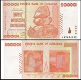 Zimbabwe 50 Billion Dollars 2008 Banknote UNC AA+