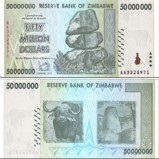 Zimbabwe 50 Million Dollars Banknote