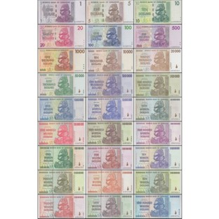 Zimbabwe Banknotes Full Set 27 Pieces Uncirculated
