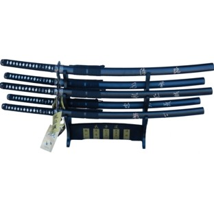 Set of  5 The Last Samurai  Katana Swords With Stand