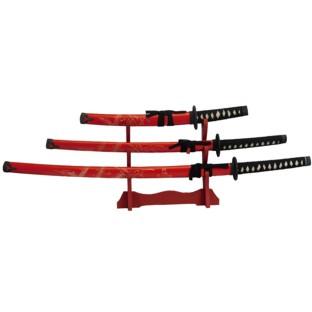 Japanese Carved Dragon Samurai Sword Set