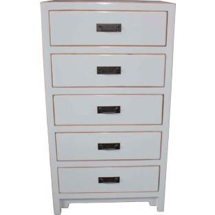 White 5-Drawer Tallbay Bedside Cabinet