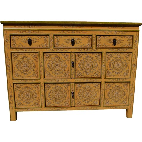 Yellow Tibetan Sideboard