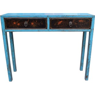Blue 2-Drawer Hallway Table